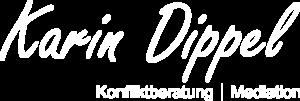 Mediation Bielefeld: Konfliktberatung, Logo Karin Dippel, weiß